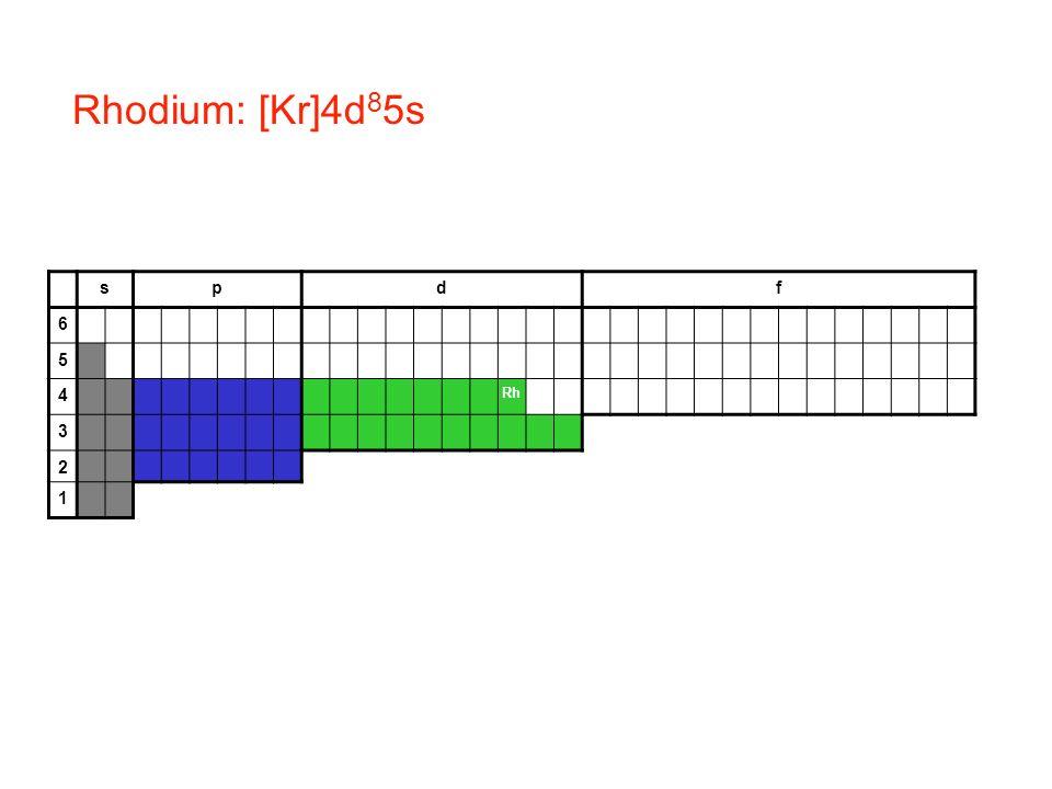Rhodium: [Kr]4d85s s p d f 6 5 4 Rh 3 2 1